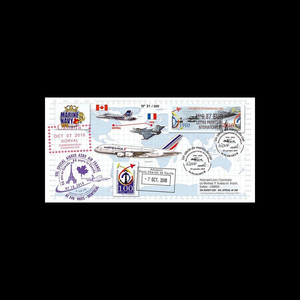 """A380-110 : 2010 - Pli voyagé sur vol A380 Paris-Montréal """"Centenaire Aéronautique Navale"""""""