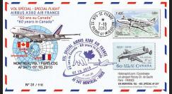 """A380-113 : 2010 - Pli voyagé SPM """"Vol A380 Montréal-Paris - Air France"""