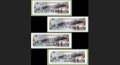 """AERONAV10-1-4N : 2010 - 4 vignettes LISA France """"Un Siècle de Marins du Ciel 1910-2010"""""""