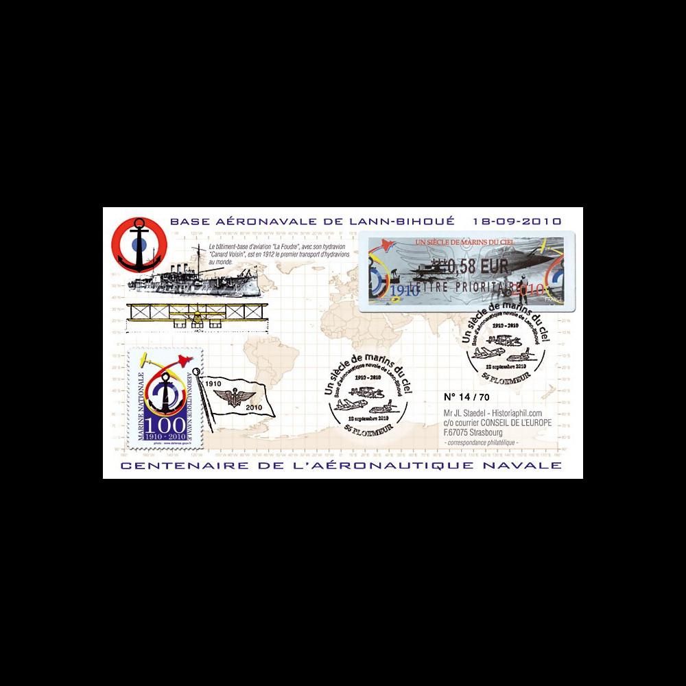 "AERONAV10-1P : 2010 - Pli ""100 ans Aéronautique Navale - Foudre + hydravion"" - Ploemeur"