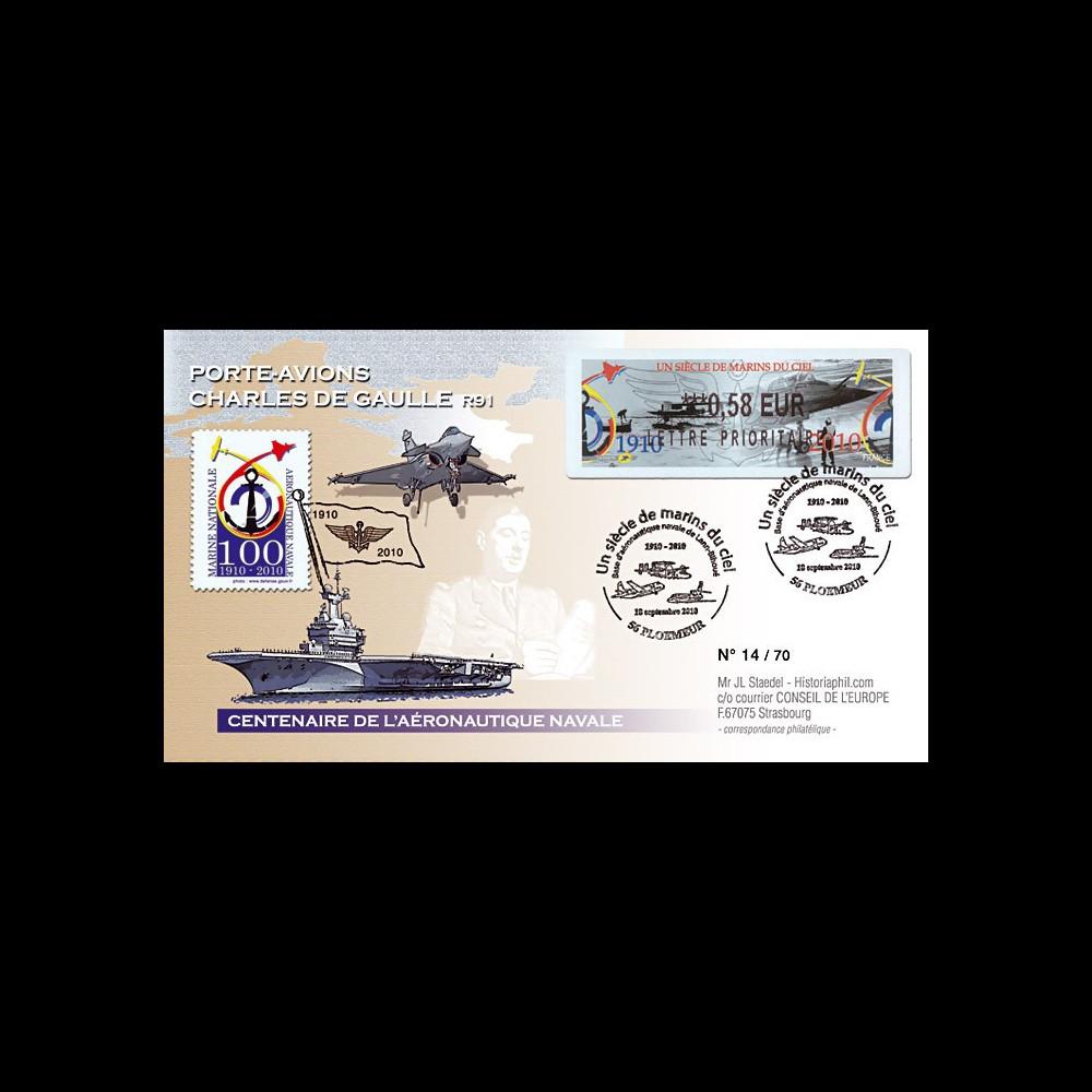 """AERONAV10-2P : 2010 - Pli """"100 ans Aéronautique Navale - PA de Gaulle"""" - Ploemeur"""