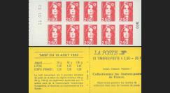 2720-C2a : 1993 - Variété sur carnet 2f50 Marianne de Briat - absence de prédécoupe des TP