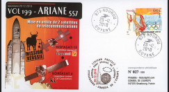 V199L-T1 : 2010 - FDC Kourou Vol 199 Ariane - sat. KOREASAT 6 & HISPASAT-1E / oblit. TAD