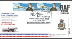 """CO4-002 : 2004 - GB - FDC Royal Air Force """"35e anniversaire du 1er vol Concorde 002"""""""