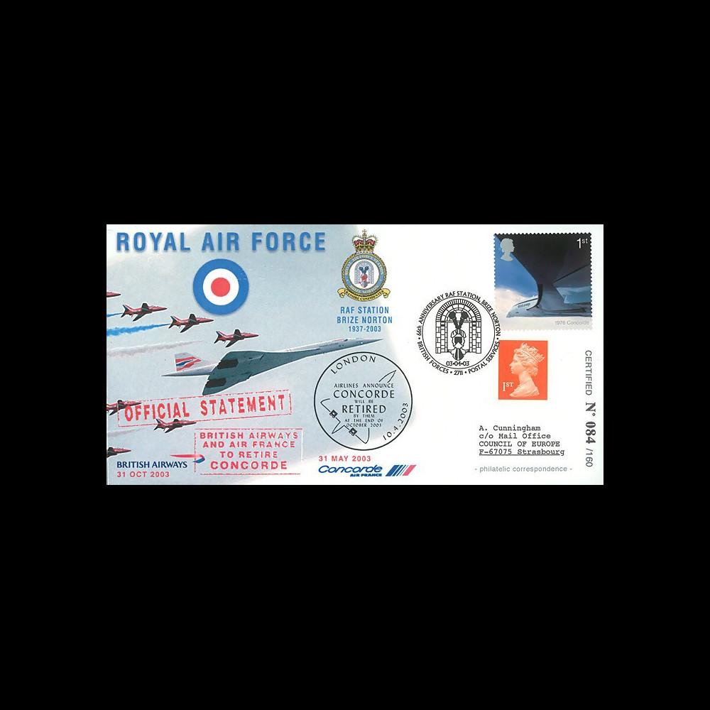 """CO 03-RAF1 : 2003 - FDC GB """"Royal Air Force - Annonce du retrait définitif de Concorde"""""""
