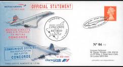 """CO 03-RET-T1 : 2003 - FDC GB """"Communiqué officiel - Annonce du retrait de Concorde"""""""