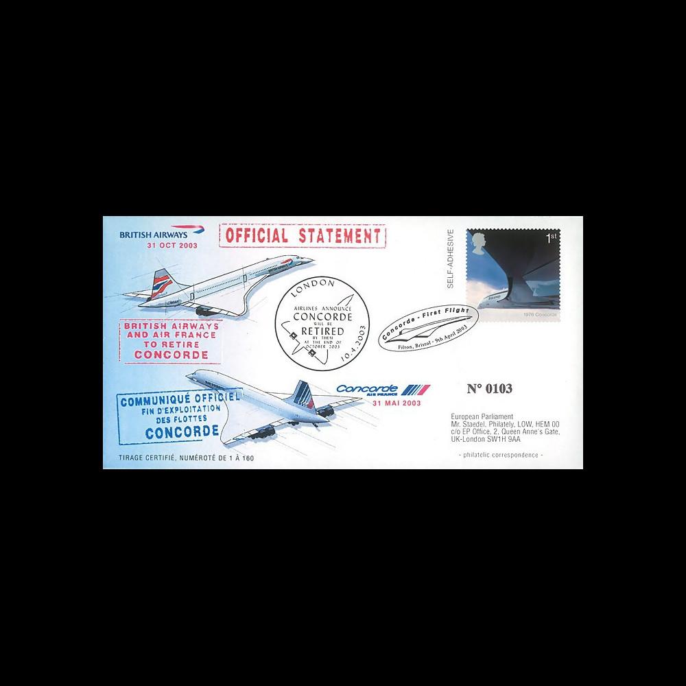 """CO 03-RET-T2 : 2003 - FDC GB """"Communiqué officiel - Annonce du retrait de Concorde"""""""