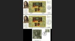 """FR-VA05 : 2005 - 2 plis Emission commune France-Vatican du bloc """"Raphaël"""