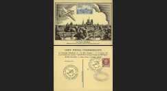"""W2-FR517-AV1 : 1943 - CP """"Expo philatélique LA POSTE AÉRIENNE"""" / vignette avion bleu"""