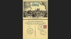 """W2-FR517-AV4 : 1943 - CP """"Expo philatélique LA POSTE AÉRIENNE"""" / vignette avion vert"""