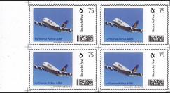 """A380-119B4 : 2011 - Bloc de 4 valeurs du 1er TPP Allemagne """"Lufthansa Airbus A380"""""""