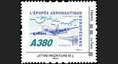 """A380-104N50 : 2010 - TPP France """"A380 - Épopée aéronautique eur."""" / Lettre prio 50g"""