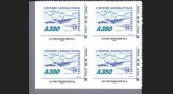 """A380-104N50B4 : 2010 - Bloc de 4 TPP """"A380 - Épopée aéronautique eur."""" / Lettre prio 50g"""