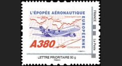 "A380-105N50 : 2010 - TPP France ""A380 volant vers l'Asie et Concorde"" / Lettre prio 50g"
