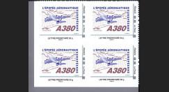 """A380-109N50B4 : 2010 - Bloc 4 TPP """"A380 vers l'Amérique et Concorde"""" / Lettre prio 50g"""