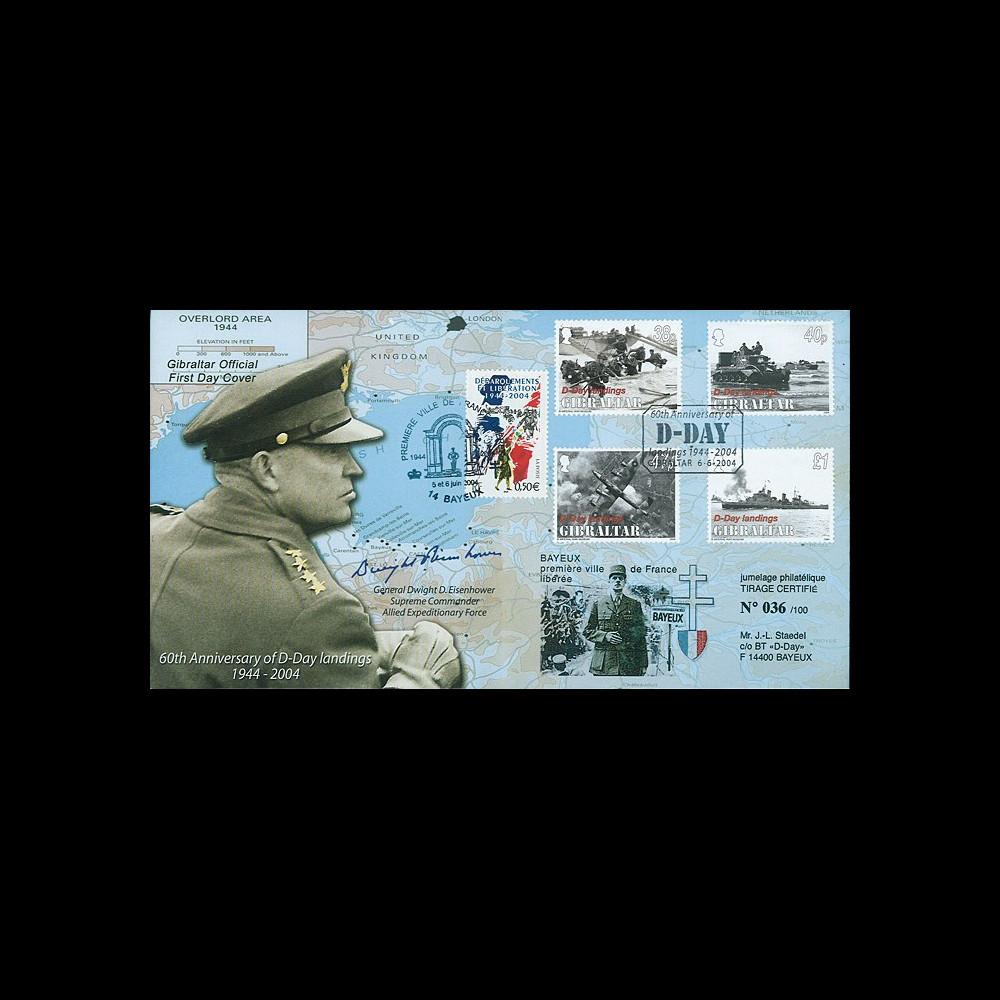 DEB04-GIB1 : 2004 FDC Gibraltar '60 ans Débarquement 1944' Eisenhower & de Gaulle