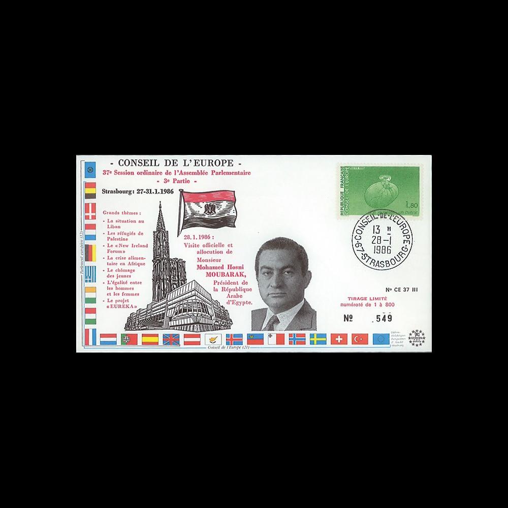 """CE37-III : 28.1.86 - FDC Session CE """"Allocution de M. Hosni Moubarak"""