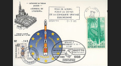 """AR27La : 2.7.85 - Carte """"Ariane V14 - rencontre entre GIOTTO et la comète HALLEY"""""""