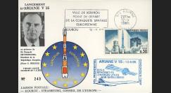 """AR28La : 12.9.85 - Carte """"Ariane 3 V15 - satellites SPACENET-F3 et ECS-3 non-satellisés"""""""