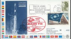 """AR29L : 21.2.86 - FDC Kourou """"Ariane V16 satellites SPOT et VIKING - dernier vol Ariane 1"""""""
