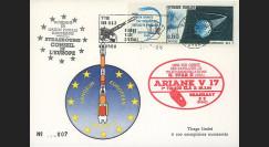 "AR30La : 28.3.86 - Carte ""Ariane V17 - sat. G-STAR II & BRASILSAT S2 - 1er tir sur ELA2"""