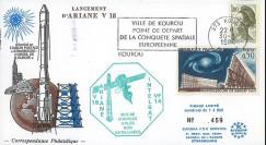 """AR31L : 30.5.86 - FDC Kourou """"Ariane V18 - charges utiles INTELSAT VF14 non-satelisées"""""""