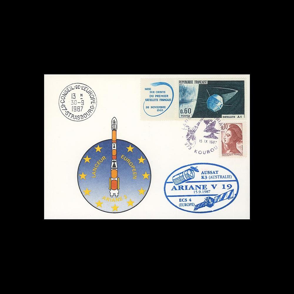 """AR32La : 15.9.87 - Carte """"Ariane V19 - satellites AUSSAT K3 et ECS 4 - 25 ans du CNES"""""""