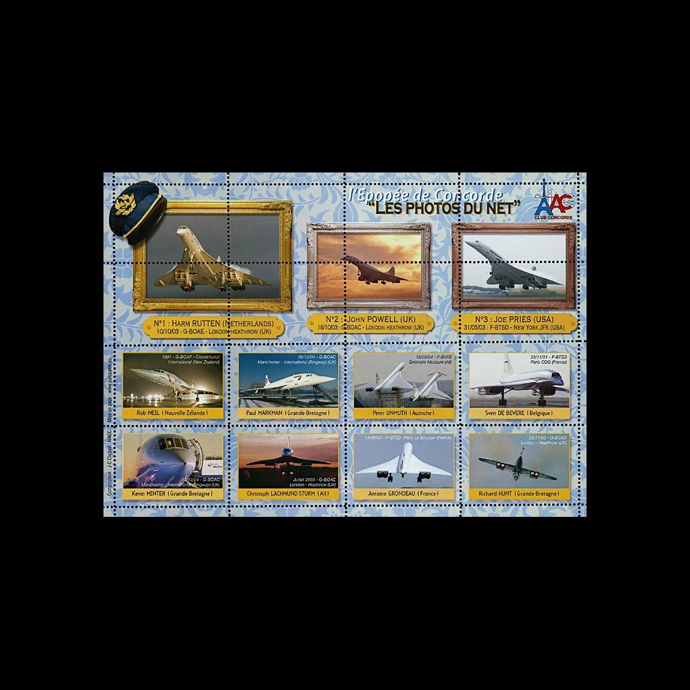 """CO-E12 : 2006 - Feuillet de vignettes dentelées """"l'Epopée de Concorde - Les Photos du Net"""""""