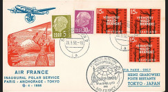 "AF58-P1T2 : SARRE 1958 - FDC ""Vol inaugural Transpolaire Paris-Anchorage-Tokyo par Super Starliner Air France"" (TYPE 2)"