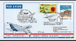 """A380-132 : 2011 - FFC (Pli) AUTRICHE """"Airbus A380 Ovebria 11 - 45e Congrès FISA - Vol Wien-Graz"""""""