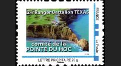 """DEB11-2N : 2011 - 1 Timbre-poste personnalisé """"Comité Pointe du Hoc - 2nd Ranger Bataillon Texas"""""""