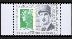 """DEB11-3PT1 : 2011 - Porte-timbre TVP vert """"Jour 'J' - De Gaulle"""