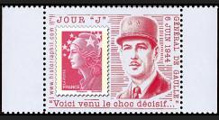 """DEB11-3PT2 : 2011 - Porte-timbre TVP rouge """"Jour 'J' - De Gaulle"""