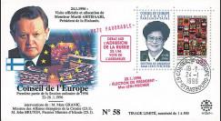 """CE47-I : 01-1996 - FDC Conseil de l'Europe """"Discours de M. Martti AHTISAARI"""