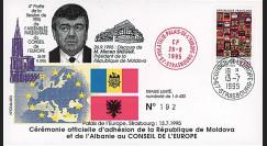 """CE46-IIIEX : 07-1995 - FDC Conseil de l'Europe """"Adhésion République de Moldova et Albanie au Conseil de l'Europe"""""""