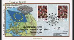 """PJ51/52A : 01-1994 - FDC Conseil de l'Europe """"Premier des timbres de service du Conseil de l'Europe - Hundertwasser"""""""