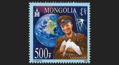 """GAGARIN11-3N : 2011 - 1 valeur MONGOLIE 500T """"Youri Gagarine - 50 ans 1er Homme dans l'Espace"""""""
