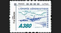 """A380-129N1 : 2011 - 1 val. TPP Monde 20g """"Blériot XI - A380 volant vers l'Afrique"""" cadre 'FRANCE - La Poste' à gauche"""