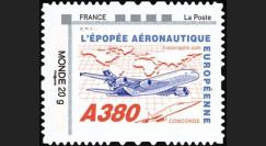 """A380-129N2 : 2011 - 1 val. TPP Monde 20g """"Concorde - A380 volant vers l'Asie"""" cadre 'FRANCE - La Poste' à gauche"""
