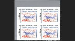 """A380-129N2B4 : Bloc 4 val. TPP Monde 20g """"Concorde - A380 volant vers l'Asie"""" cadre 'FRANCE - La Poste' à gauche"""