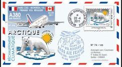 """A380-130 : 2011 - FFC (Pli) """"1er vol régulier A380 Air France Paris-Montréal"""""""