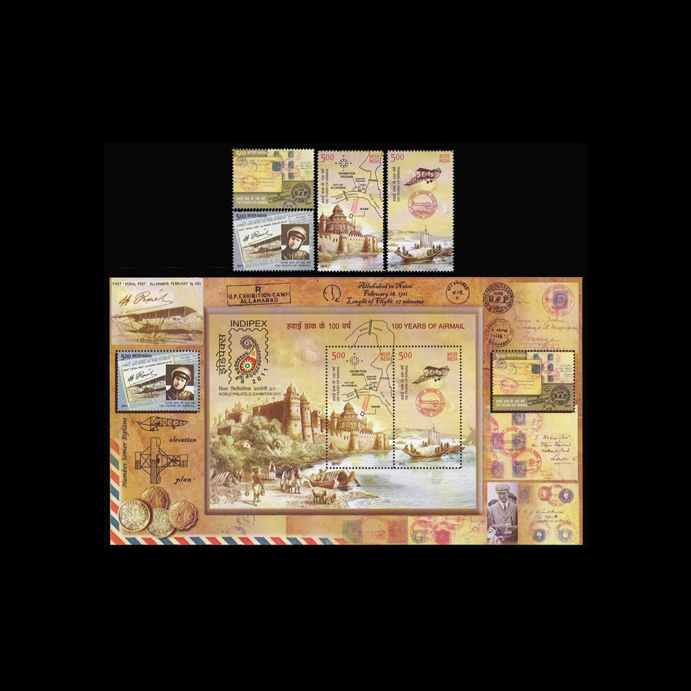 """A380-122-123N : 2011 - INDE bloc-feuillet + 4 valeurs """" INDIPEX 2011 - 100 Years of Airmail"""""""