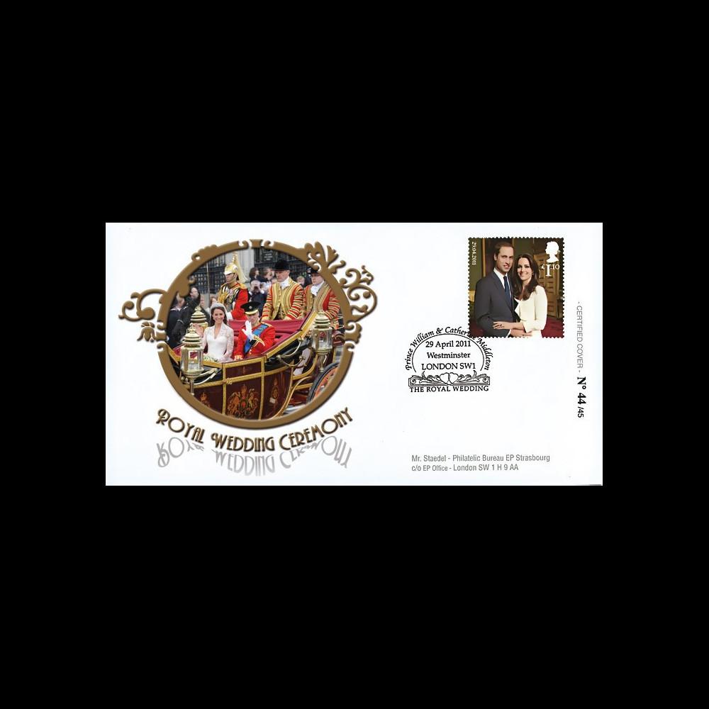 "WED11-2 : 2011 - FDC GRANDE-BRETAGNE ""Mariage Princier William & Kate Middleton"""