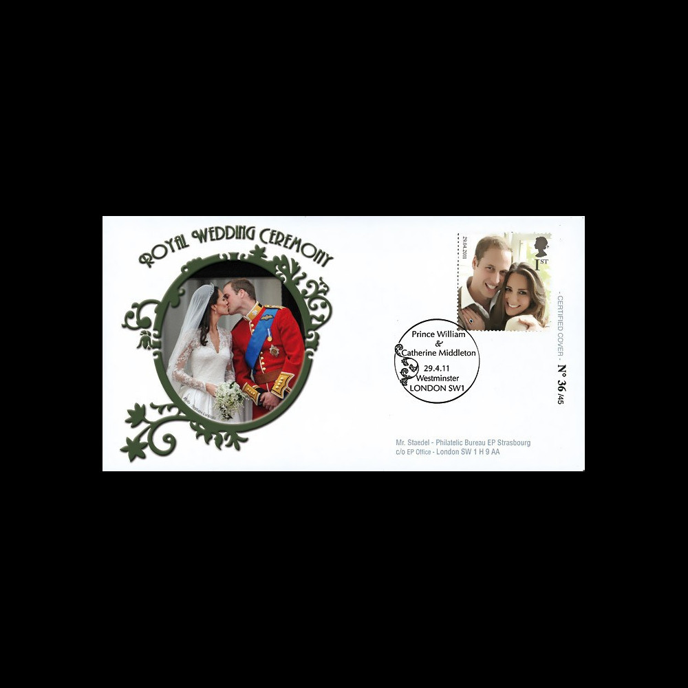 "WED11-3 : 2011 - FDC GRANDE-BRETAGNE ""Mariage Princier William & Kate Middleton"""