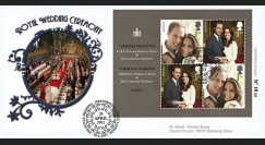 "WED11-5 : 2011 - FDC GRANDE-BRETAGNE ""Mariage Princier William & Kate Middleton"""