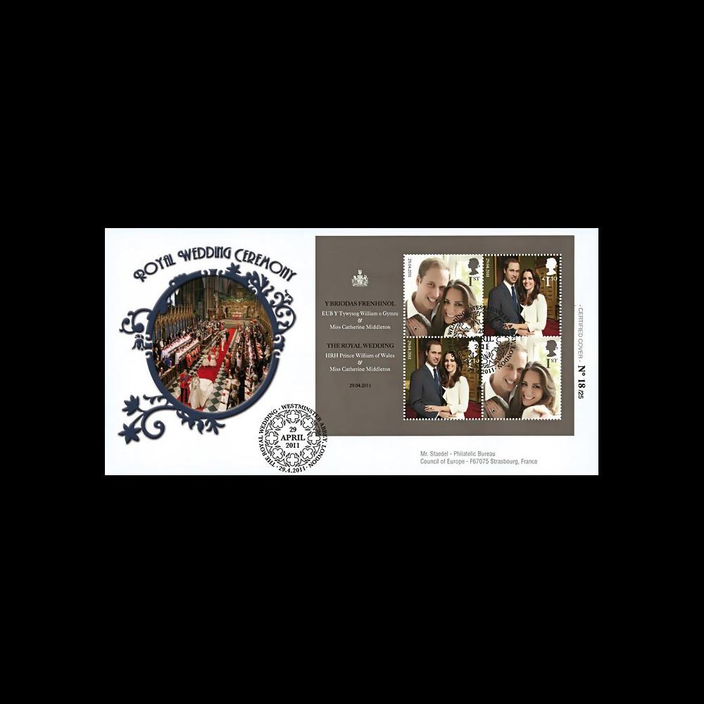 "WED11-5 : 2011 - FDC GRANDE-BRETAGNE ""Mariage Princier William & Kate Middleton"""