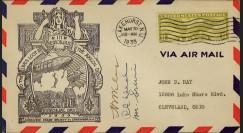 """13ZRS4-02 : Enveloppe USA """"Crash du Dirigeable USS AKRON"""" signée par les survivant"""