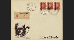 """13W2-FR05 : 1944 - Enveloppe patriotique RECO """"de Gaulle"""