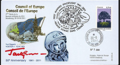 "CE62-IIIB : 06-2011 - FDC Conseil de l'Europe ""Youri Gagarine - 50 ans 1er Homme dans l'Espace"""