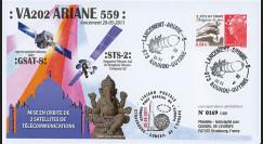 "VA202L-T2 : 2011 - FDC Kourou ""Vol 202 Ariane - Sat. GSAT-8 & STS-2"" (TYPE 2)"